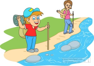 summer camper hiking near stream
